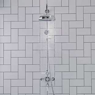Cheltenham Shower System Straight on Lifestyle with water website