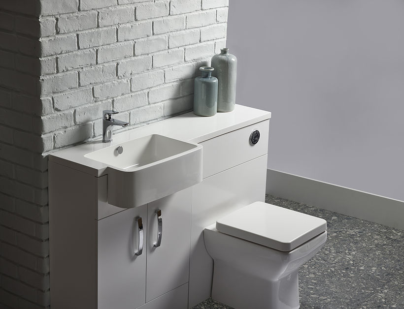Courier 600 semi countertop ISOCAST basin and back to wall unit WHITE worktop V1