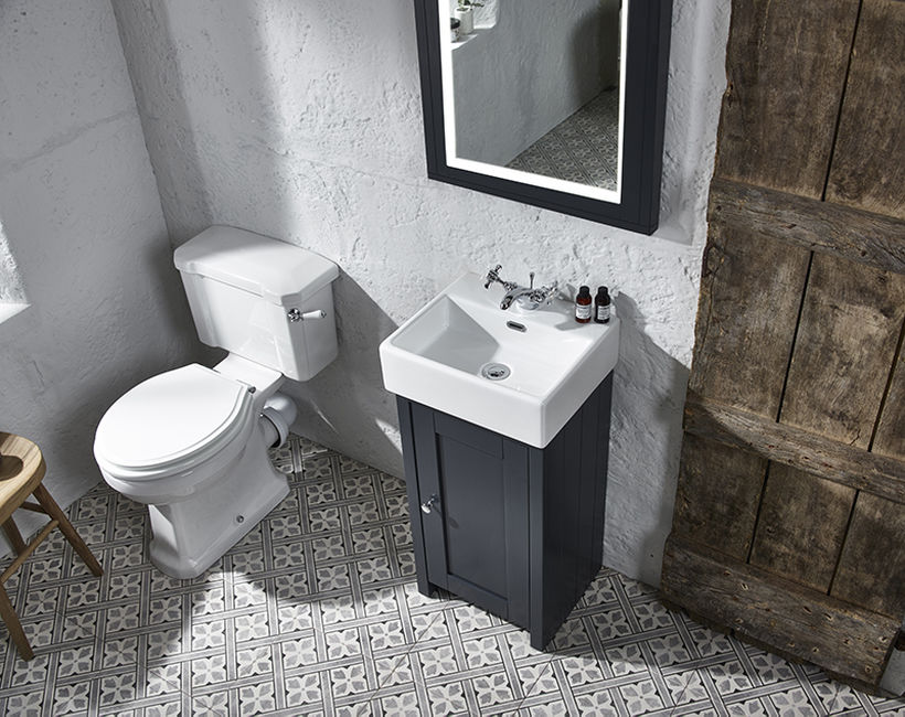 Lansdown cloakroom unit mirror dark grey matt