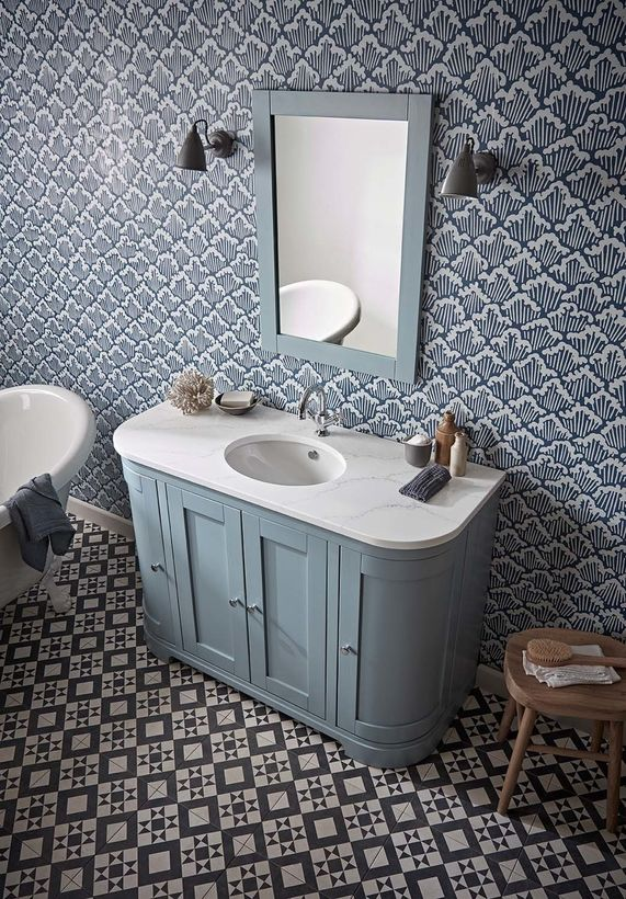 Lansdown 1200 curved 1 basin mineral blue lifestyle Front cover option