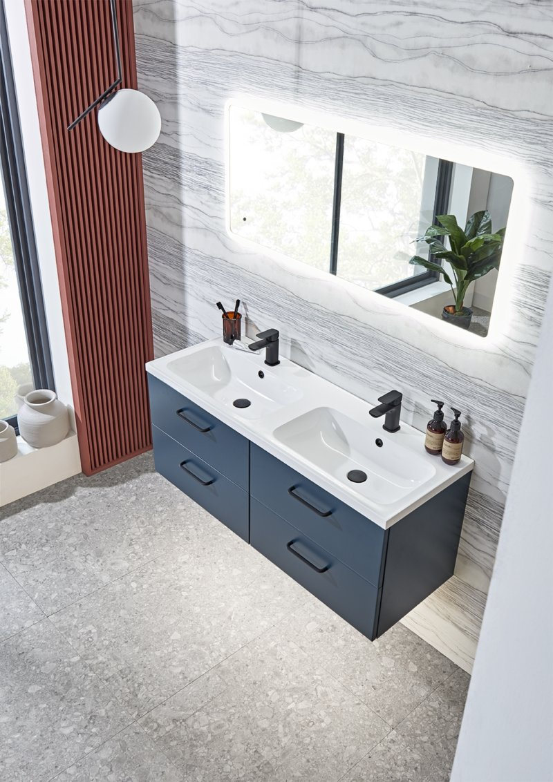 Cadence 1200mm unit in oxford blue lifestyle